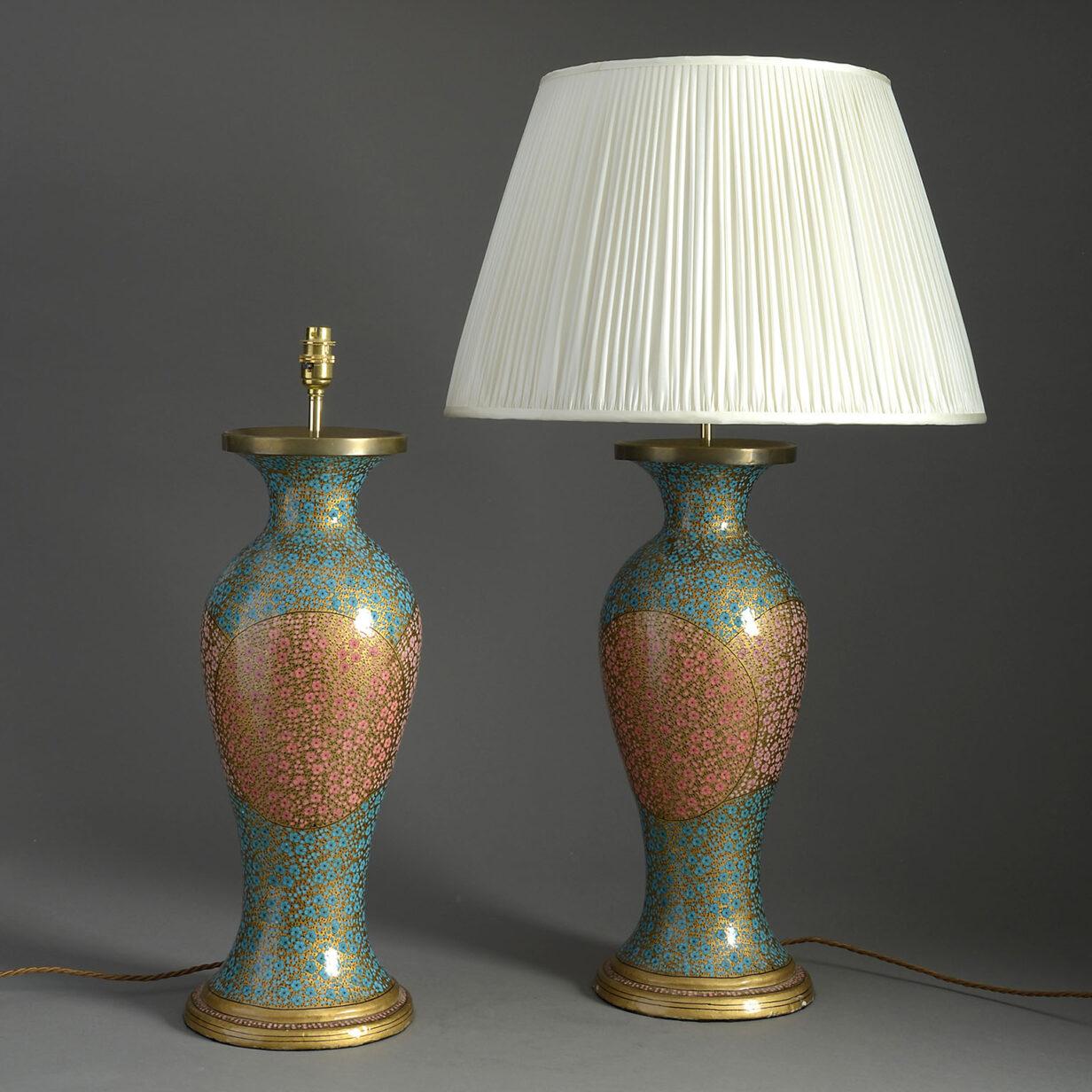 Pair of Kashmiri Lamps