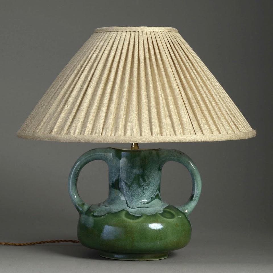 Mid-Century Handled Green Studio Pottery Lamp